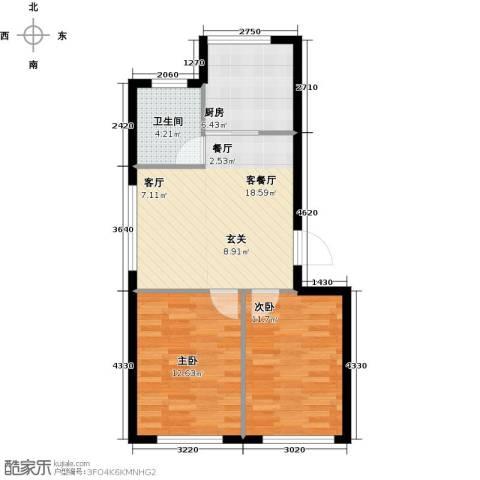 沈阳绿色家园2室1厅1卫1厨60.00㎡户型图
