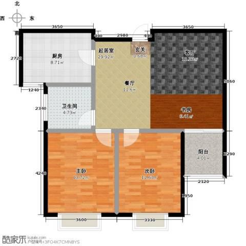 润地凤凰城2室0厅1卫1厨92.00㎡户型图