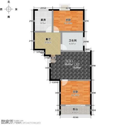 润地凤凰城2室0厅1卫1厨90.00㎡户型图