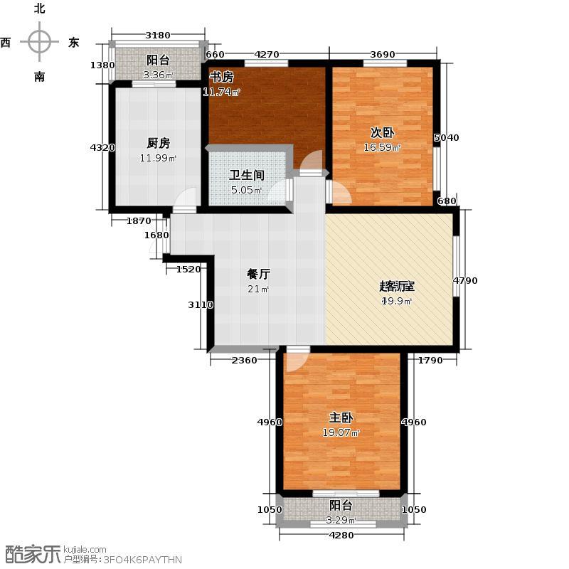 馨月庭苑127.00㎡三室两厅一卫户型