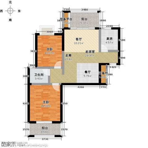 瑞景城2室0厅1卫1厨86.00㎡户型图