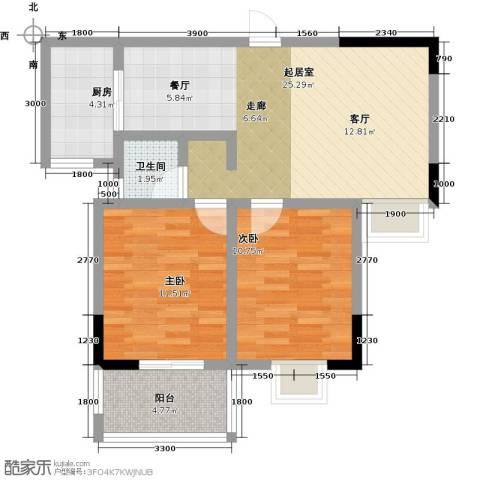 瑞景城2室0厅1卫1厨85.00㎡户型图