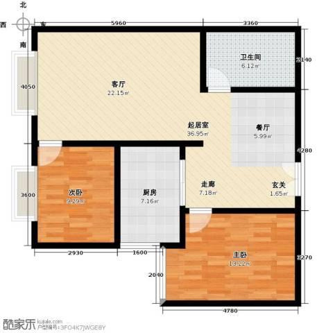 雪峰花园2室0厅1卫1厨81.00㎡户型图