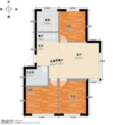 沈阳绿色家园3室1厅1卫1厨87.00㎡户型图