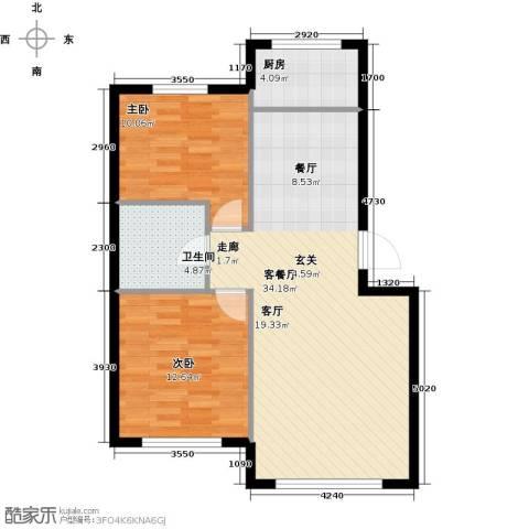 沈阳绿色家园2室1厅1卫1厨73.00㎡户型图