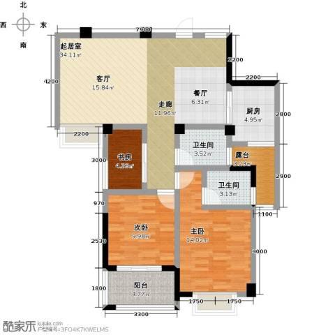 瑞景城3室0厅2卫1厨120.00㎡户型图