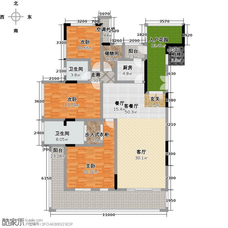 海南・菩提树183.33㎡三房两厅配入室花园户型