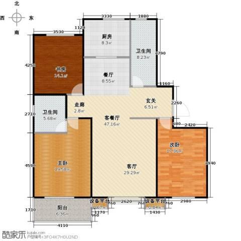 盛和嘉园3室1厅2卫1厨137.00㎡户型图