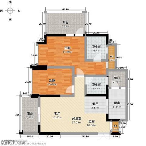 都城雅颂居2室0厅2卫1厨96.00㎡户型图