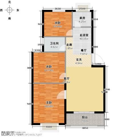 洪洲花园3室0厅1卫1厨109.00㎡户型图
