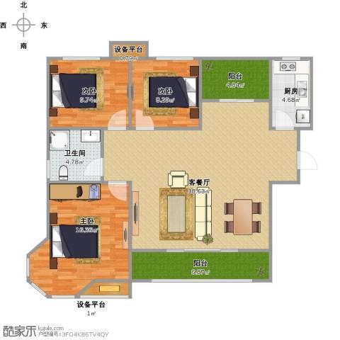 国信御湖公馆3室1厅1卫1厨129.00㎡户型图