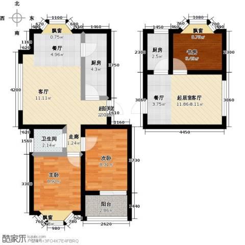 中央郡3室0厅1卫2厨80.00㎡户型图