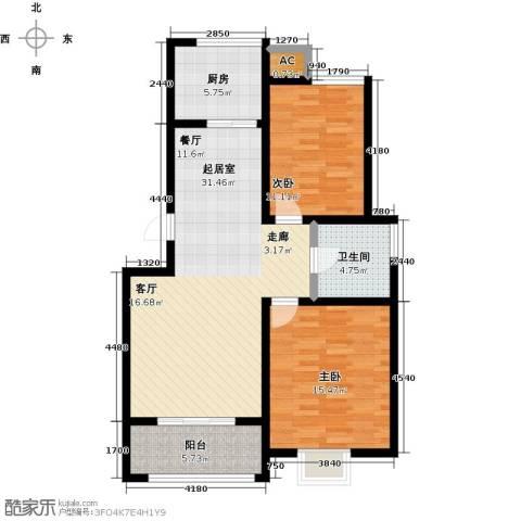 中央郡2室0厅1卫1厨85.00㎡户型图