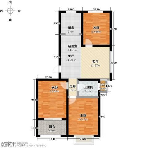 中央郡3室0厅1卫1厨90.00㎡户型图