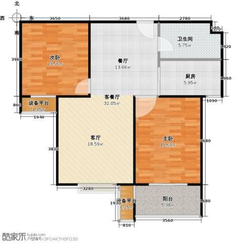 盛和嘉园2室1厅1卫1厨87.00㎡户型图