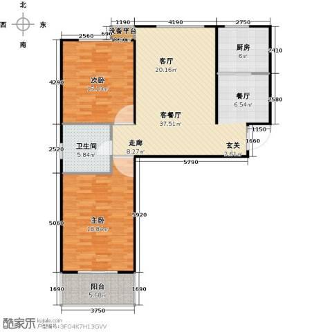 盛和嘉园2室1厅1卫1厨95.00㎡户型图