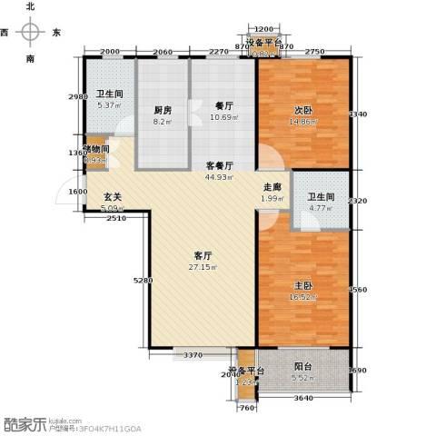 盛和嘉园2室1厅2卫1厨115.00㎡户型图