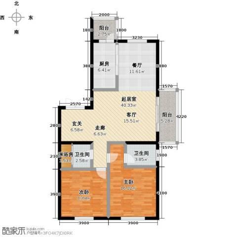 锦湖・金色世家2室0厅2卫1厨133.00㎡户型图