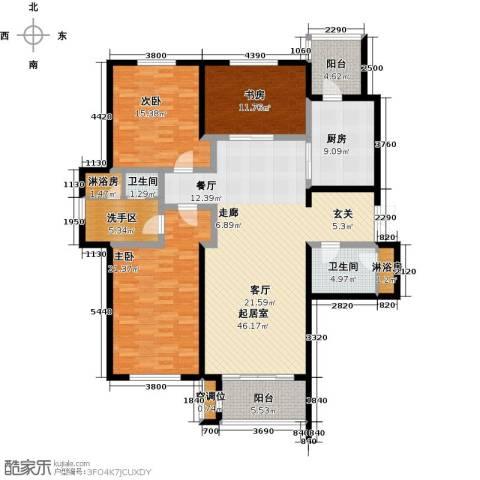 锦湖・金色世家3室0厅2卫1厨185.00㎡户型图