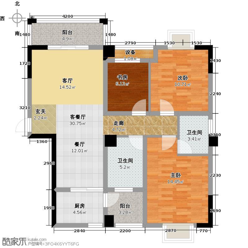 紫云阁1-A2阳台11128户型3室1厅2卫1厨