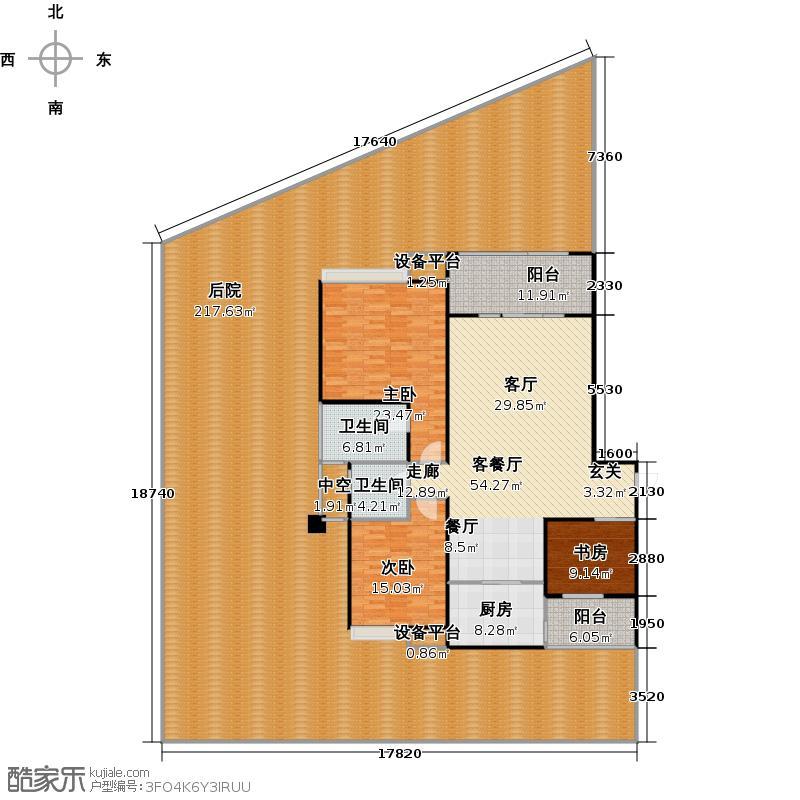 常春藤大院110.71㎡D2-3首层三室两厅两卫户型3室2厅2卫