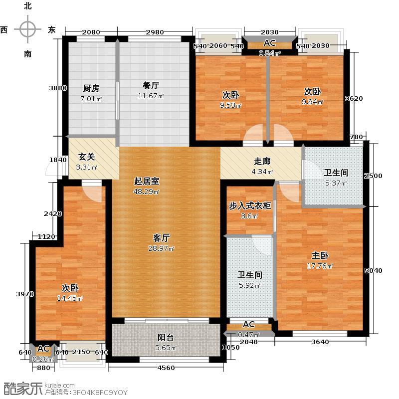 米兰国际157.15㎡3号楼B户型4室2厅2卫