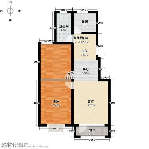 东湖庄园2室1厅1卫1厨90.00㎡户型图