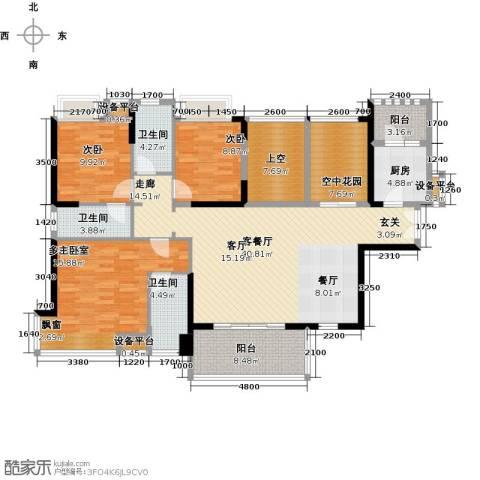 紫园2室1厅3卫1厨145.00㎡户型图
