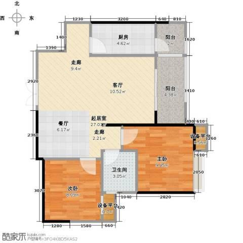 绵阳CBD万达广场2室0厅1卫1厨81.00㎡户型图
