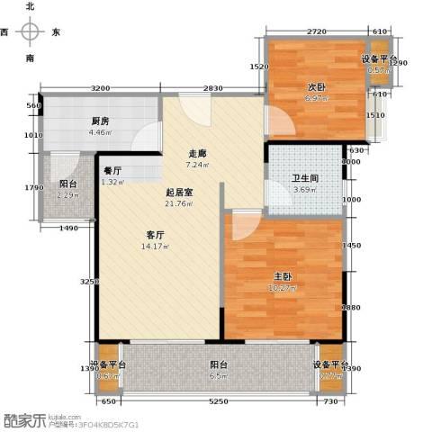 绵阳CBD万达广场2室0厅1卫1厨79.00㎡户型图