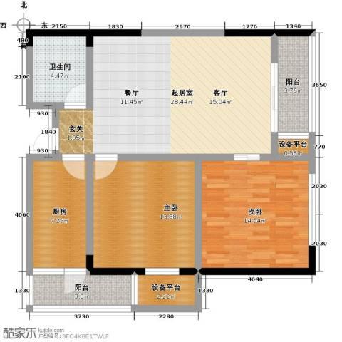 龙旺伯乐佳园2室0厅1卫1厨115.00㎡户型图