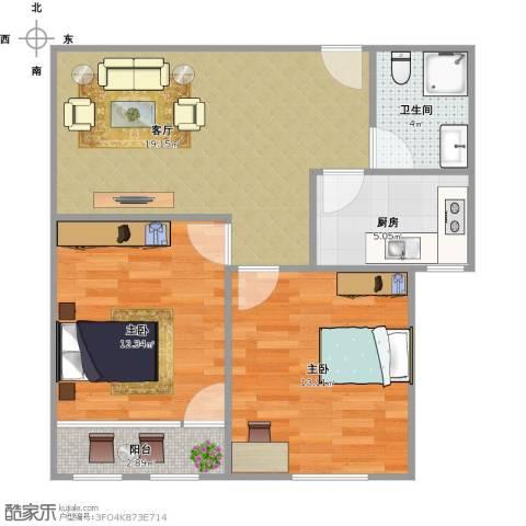 馆驿街新区2室1厅1卫1厨61.09㎡户型图
