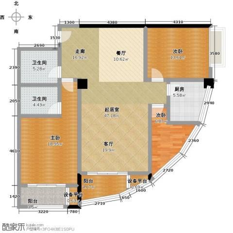 龙旺伯乐佳园3室0厅2卫1厨160.00㎡户型图