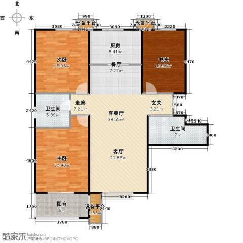 盛和嘉园3室1厅2卫1厨122.00㎡户型图