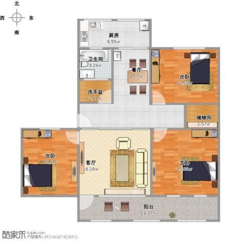 普利永庆街1号3室2厅1卫1厨133.00㎡户型图