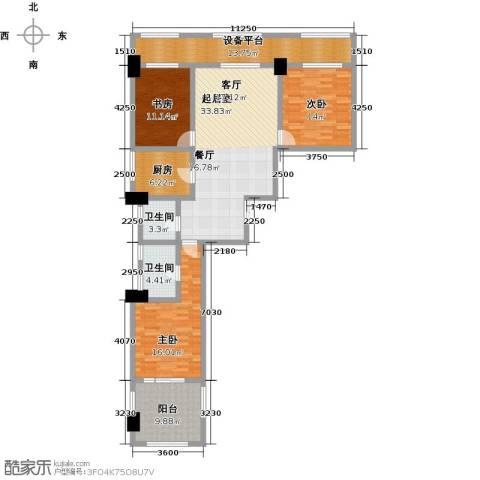 广厦丽水金城3室0厅2卫1厨144.00㎡户型图