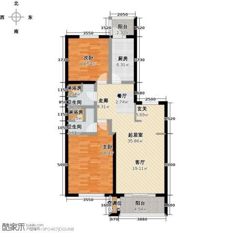 锦湖・金色世家2室0厅2卫1厨127.00㎡户型图