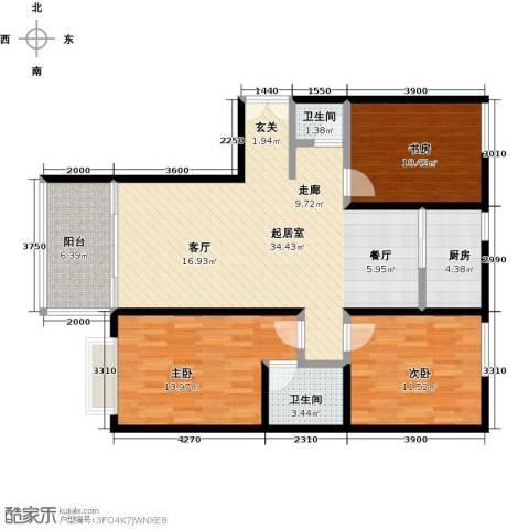 雪峰花园3室0厅2卫1厨118.00㎡户型图