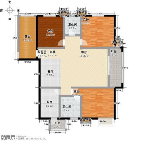 高新名门3室1厅2卫1厨148.00㎡户型图