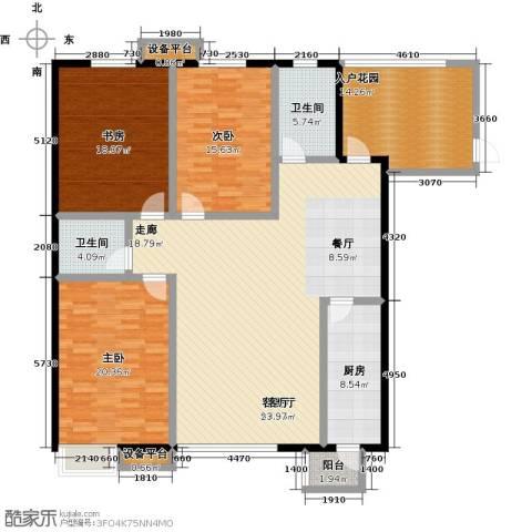 高新名门3室1厅2卫1厨160.00㎡户型图