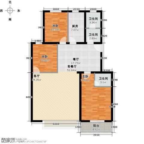 东湖庄园3室1厅3卫1厨135.00㎡户型图