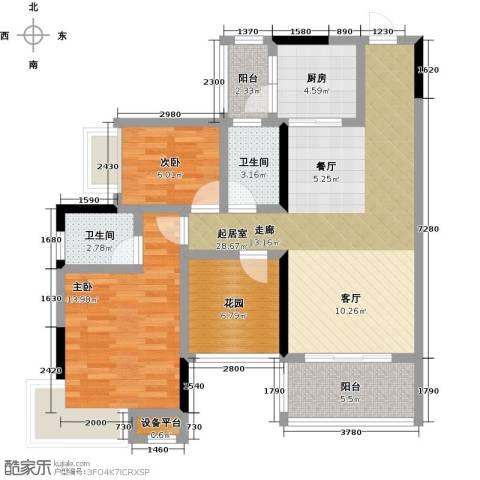 �湖世纪城2室0厅2卫1厨100.00㎡户型图