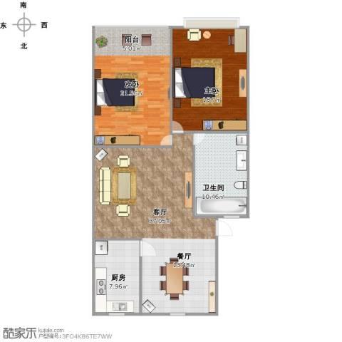 逸东花园2室1厅1卫1厨127.00㎡户型图