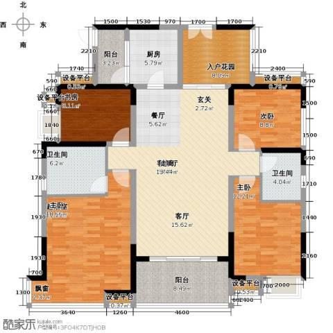 紫园3室1厅2卫1厨154.00㎡户型图