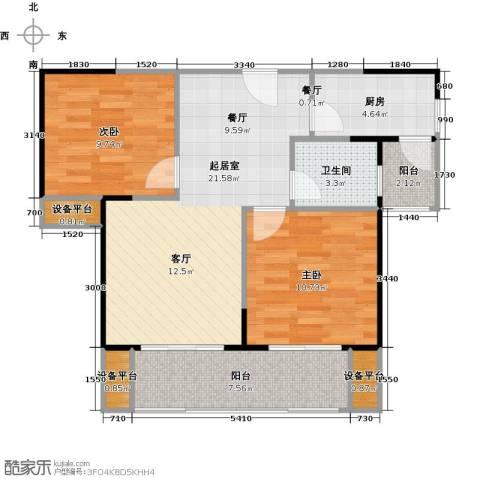 绵阳CBD万达广场2室0厅1卫1厨78.00㎡户型图