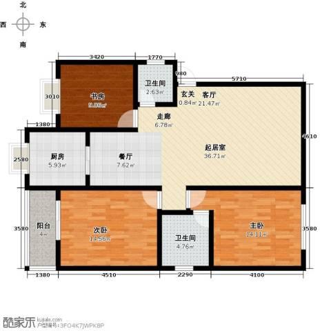 雪峰花园3室0厅2卫1厨123.00㎡户型图
