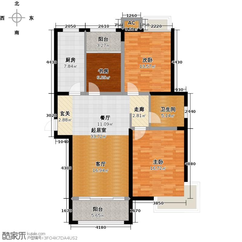 东汇城111.00㎡1#H户型三室两厅一卫111平米户型3室2厅1卫