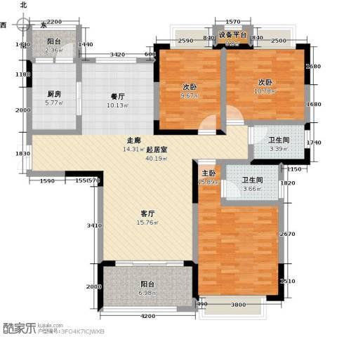 �湖世纪城3室0厅2卫1厨130.00㎡户型图