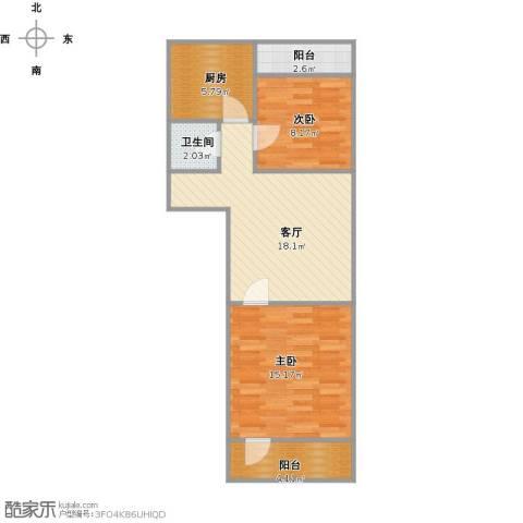 振兴街小区2室1厅1卫1厨60.96㎡户型图