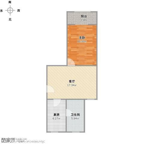 共江小区1室1厅1卫1厨61.00㎡户型图